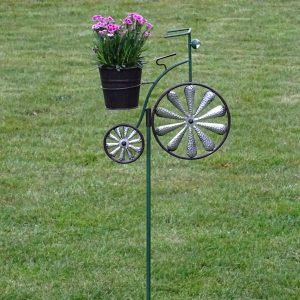 Tuinsteker Fiets Groen met bloempotje