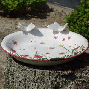 Drinkschaal Vogels bloemen en vlinders-0