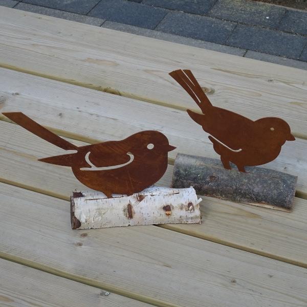 Tuindecoratie Silhouet vogel op boomstam