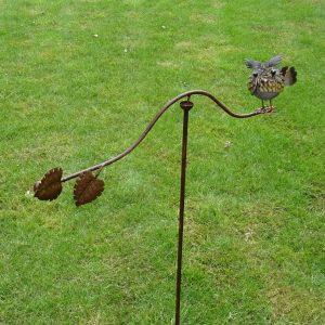Tuinsteker Balans Uil met blaadjes-0