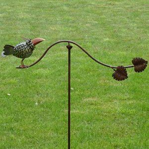 Tuinsteker Balans vogel met blaadjes-0