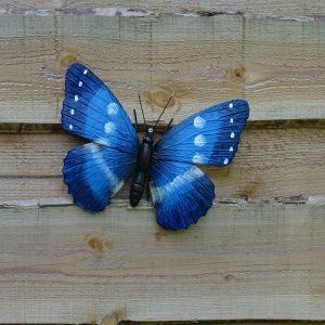 Muurdecoratie grote blauwe vlinder