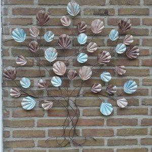 Muurdecoratie Boom met bruin en lichtblauw blad-0